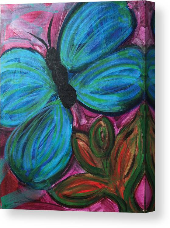 Nature Canvas Print featuring the painting Healing Rain Butterfly by Bethany Stanko