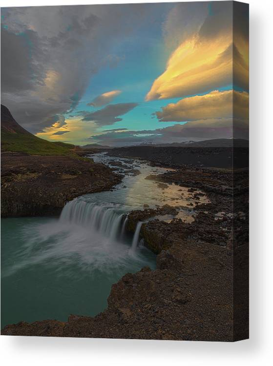 Iceland Canvas Print featuring the photograph Hidden Icelandic Waterfall by Nicholas Palmieri