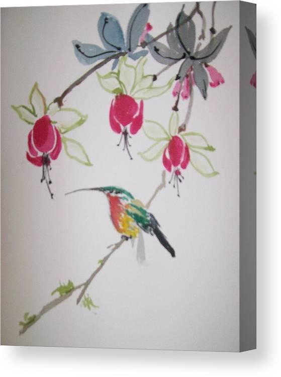 Birds Canvas Print featuring the painting Hummingbird by Leo Gordon