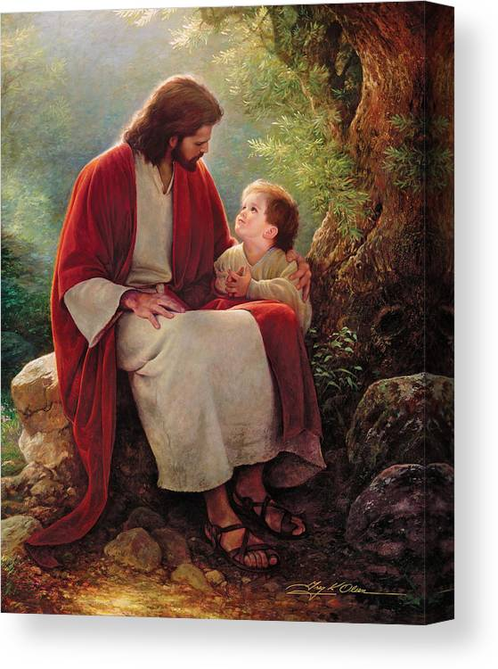 Jesus Canvas Print featuring the painting In His Light by Greg Olsen