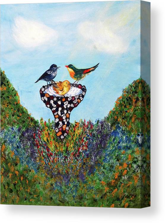 Birds Canvas Print featuring the painting In The Garden by Ann Ingham