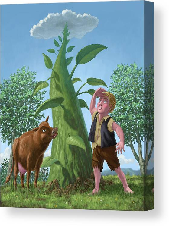 Jack Canvas Print featuring the painting Jack And The Beanstalk by Martin Davey