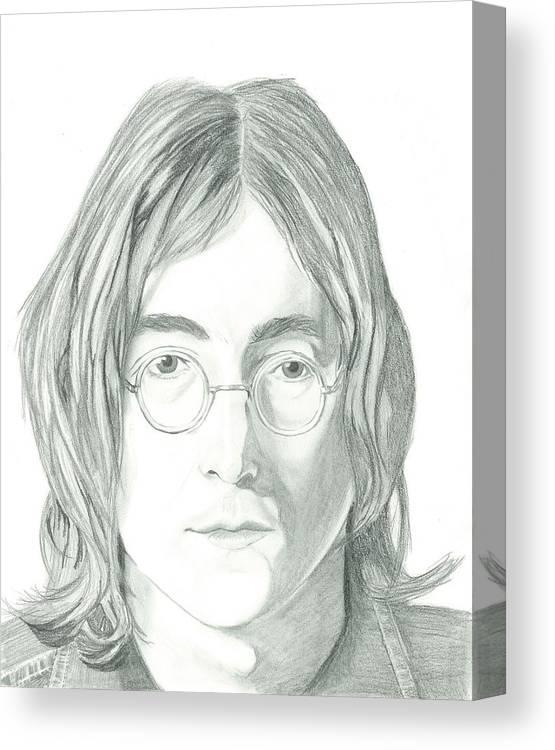 John Lennon Canvas Print featuring the drawing John Lennon Portrait by Seventh Son