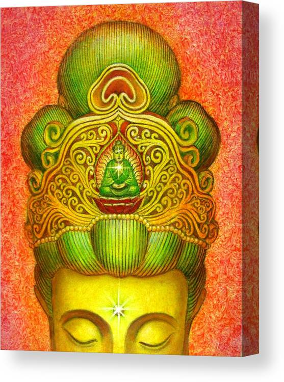 Kuan Yin Canvas Print featuring the painting Kuan Yin's Buddha Crown by Sue Halstenberg