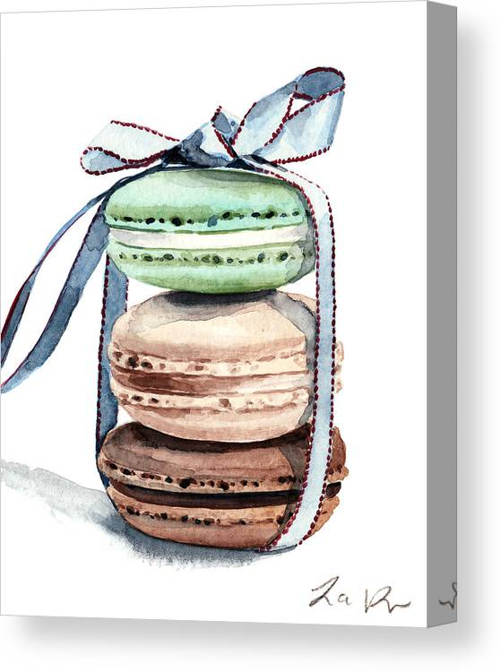 Laduree Macaron Stack Tied With A Bow Canvas Print