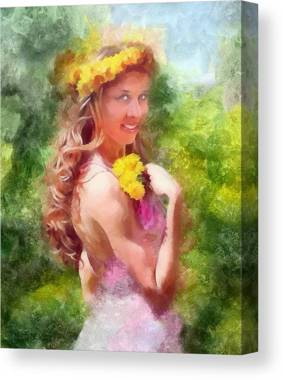Dandelions Canvas Print featuring the painting Lady Of The Dandelions by Peter Kupcik