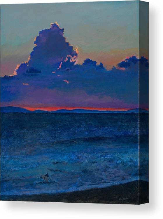 Surf Canvas Print featuring the painting Last Wave by Robert Bissett