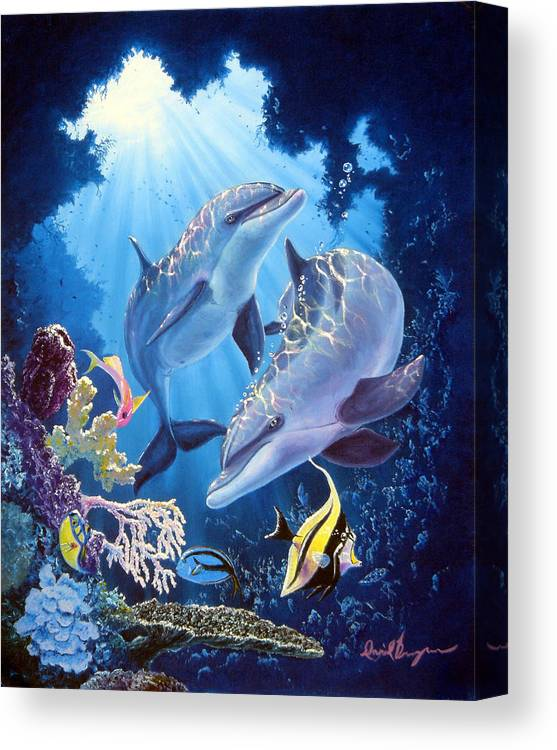Dolphin Canvas Print featuring the painting Light Of Serenity by Daniel Bergren