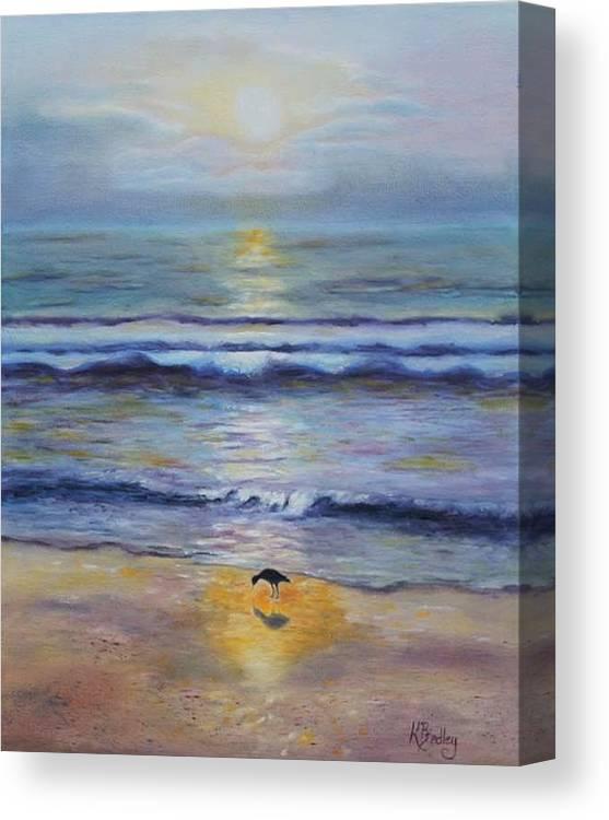 Sunset Beach Sandpiper Shorebird Nature Wildlife Sand Canvas Print featuring the painting Lone Sandpiper by Karen Layne