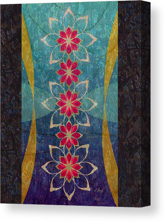 Contemporary Asian Japanese Hawaiian Polynesian Oriental Abstract Lotus Flowers G Canvas Print featuring the painting Lotus Garden by Gordon Beck