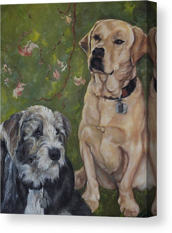Dogs Canvas Print featuring the painting Max And Molly by Stephanie Broker