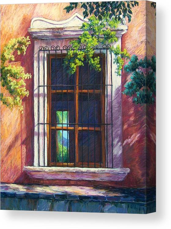 Landscape Canvas Print featuring the pastel Mexico Window by Candy Mayer