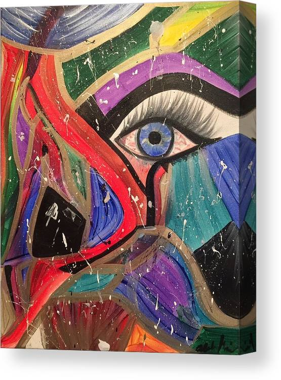Abstract Canvas Print featuring the painting Motley Eye by Alisha Anglin