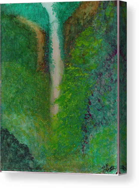 Canvas Print featuring the painting Multnomah Falls by Lynnette Jones