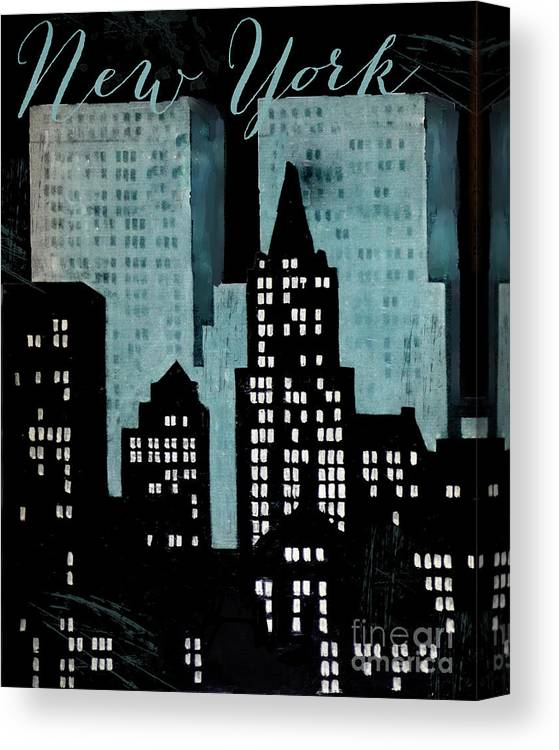 New York Canvas Print featuring the painting New York Art Deco by Mindy Sommers
