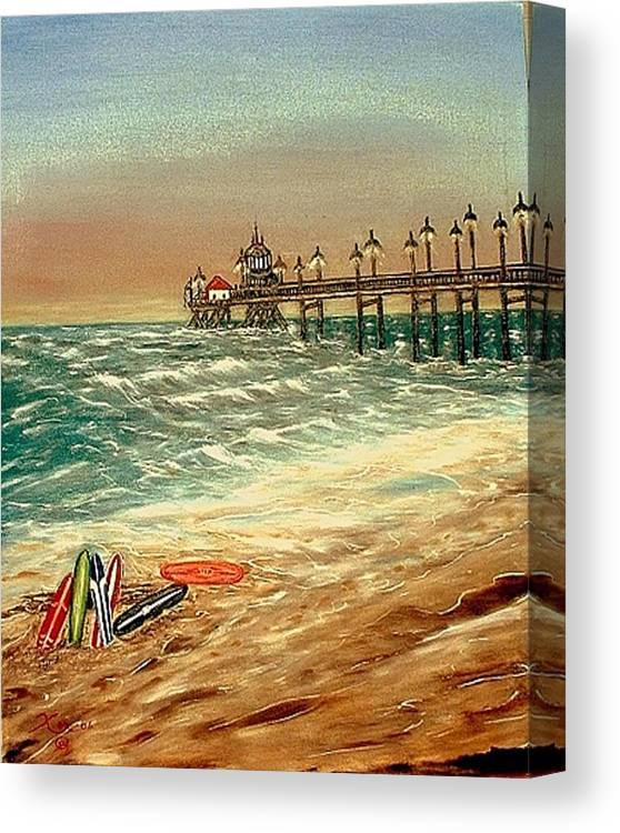 Ocean Sirfboards  Pier Canvas Print featuring the painting Ocean Pier by Kenneth LePoidevin