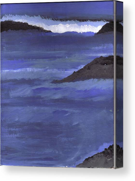 Canvas Print featuring the painting Ocean View by Lynnette Jones