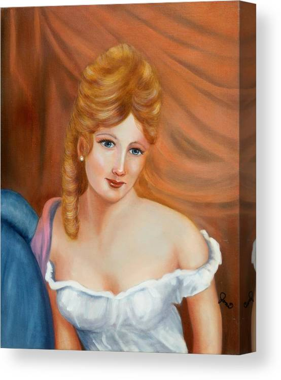 Portrait Canvas Print featuring the painting Off The Shoulders by Joni McPherson