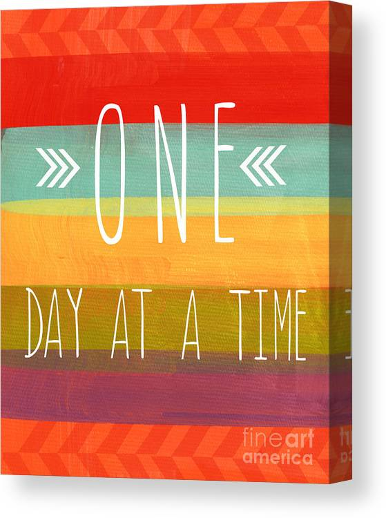 one Day At A Time Canvas Print featuring the mixed media One Day At A Time by Linda Woods