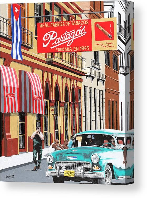 Partagas Cigar Factory Canvas Print featuring the painting Partagas Cigar Factory Havana Cuba by Miguel G