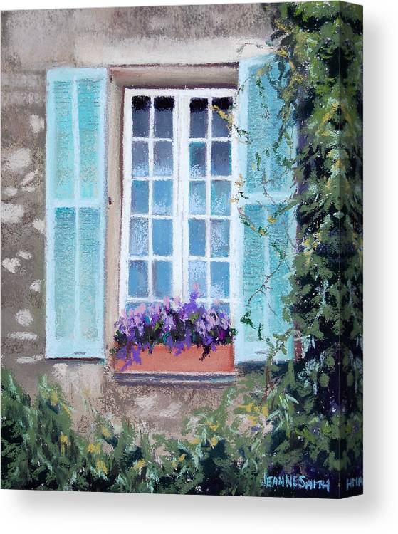 Provence Canvas Print featuring the pastel Perched Purples by Jeanne Rosier Smith