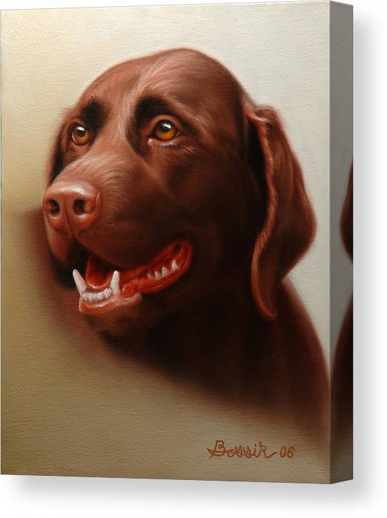 Chocolate Labrador Canvas Print featuring the painting Pet Portrait Of A Chocolate Labrador by Eric Bossik