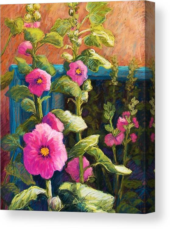 Flowers Canvas Print featuring the pastel Pink Hollyhocks by Candy Mayer