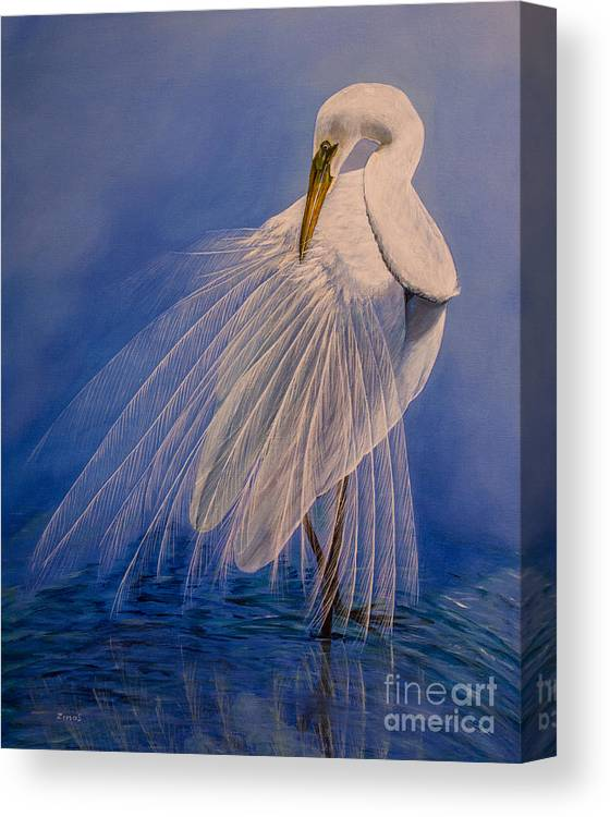 Egret Canvas Print featuring the painting Princess Of The Mist by Zina Stromberg