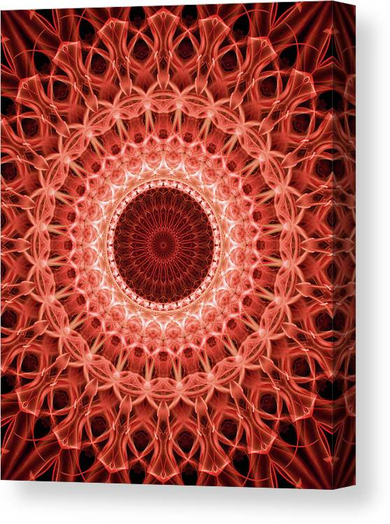 Mandala Canvas Print featuring the digital art Red And Orange Mandala by Jaroslaw Blaminsky