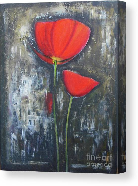 Abstract Canvas Print featuring the painting Red Couple by Vesna Antic