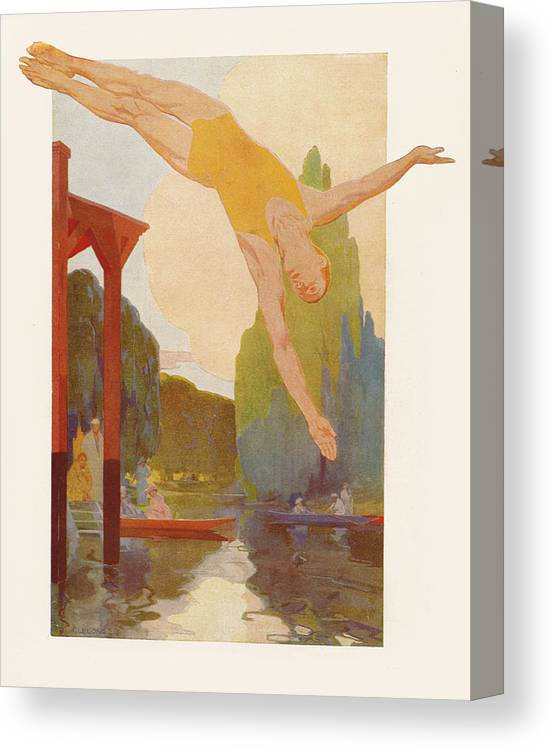 Bridge Canvas Print featuring the painting River Diver by Rene Lelong