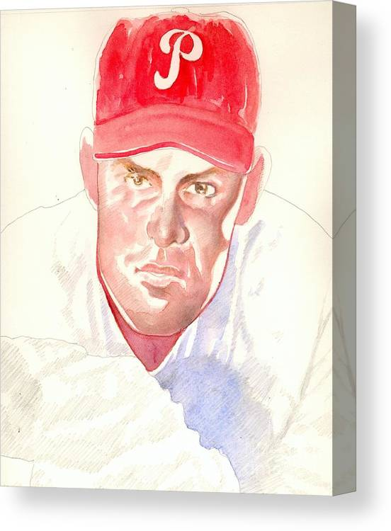 Sports Canvas Print featuring the painting Robin Roberts In Progress by Robert Myers