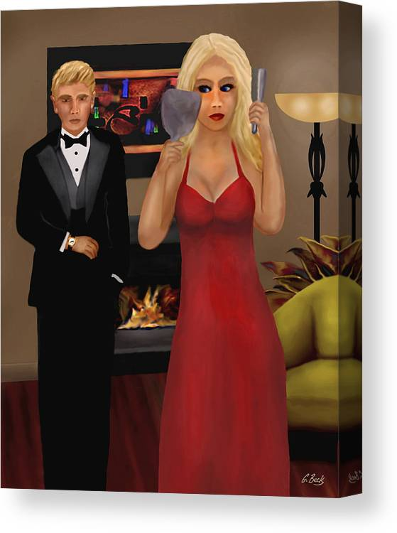 Contemporary Lifestyle Scene Blond Woman Formal Wear Apartment Fireplace G. Canvas Print featuring the painting Running Late by Gordon Beck