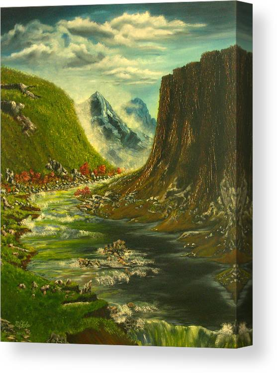 Running River Falls Canvas Print featuring the painting Running River Falls by Vincent Keele