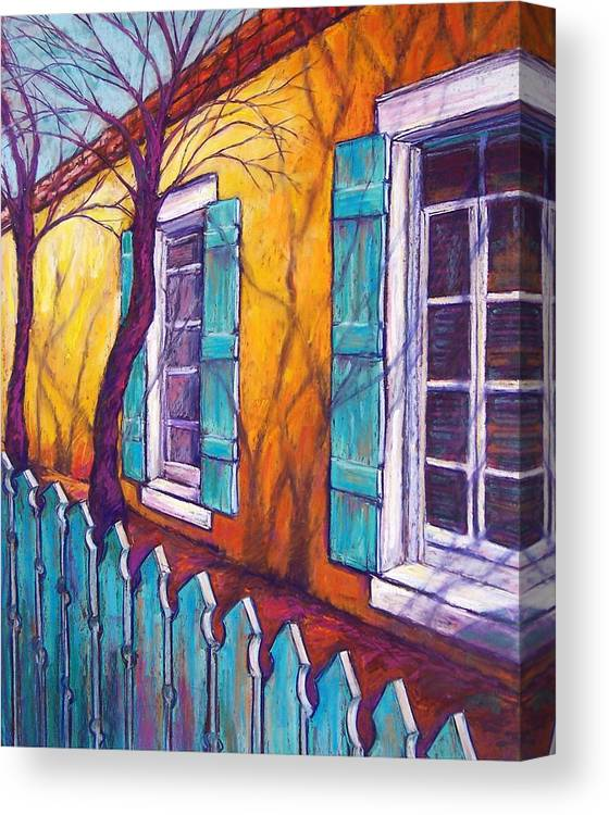 Landscape Canvas Print featuring the pastel Santa Fe Shutters by Candy Mayer