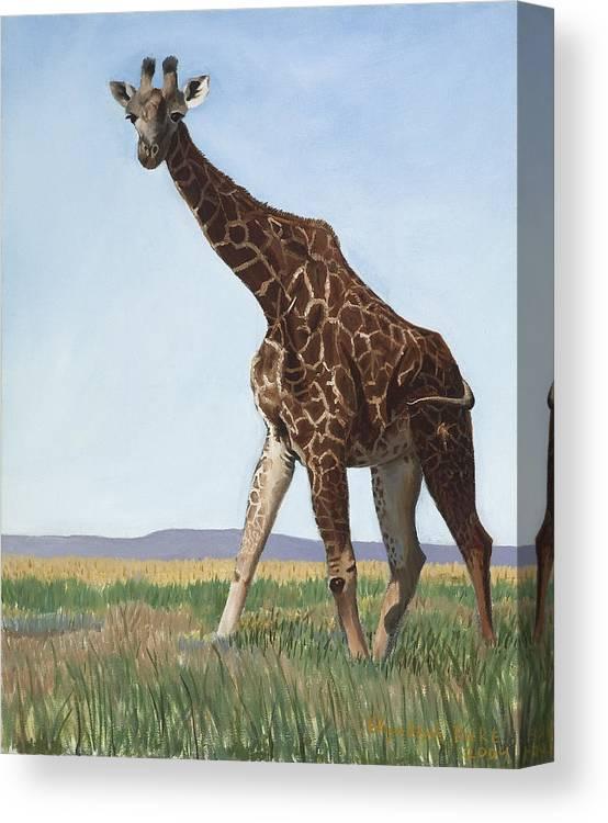 Giraffe Canvas Print featuring the painting Serengeti Longneck by Elizabeth Rieke Hefley