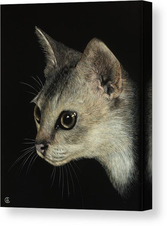 Cat Canvas Print featuring the painting Singapora Cat by Angie Cockle