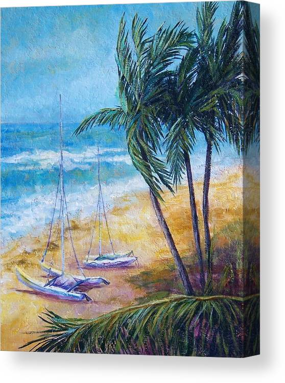 Seascape Canvas Print featuring the painting Soliman Bay by Candy Mayer