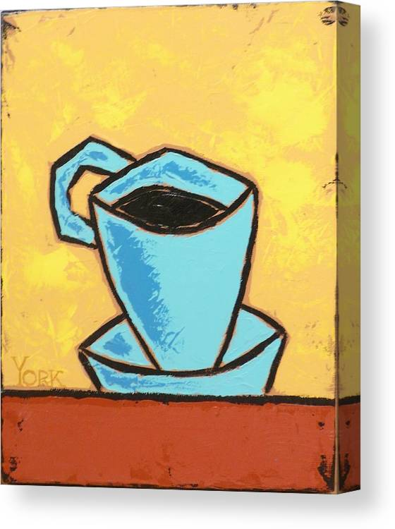 Coffee Canvas Print featuring the painting Solo Coffee I by Ron York