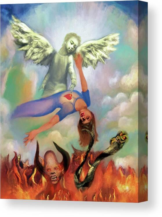 Spiritual Warfare Canvas Print featuring the painting Spiritual Warfare Of Heart And Mind by Susanna Katherine