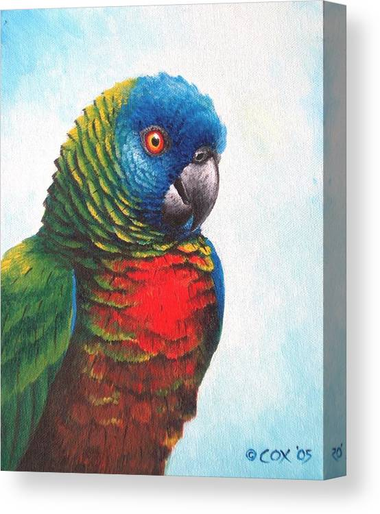 Chris Cox Canvas Print featuring the painting St. Lucia Parrot by Christopher Cox