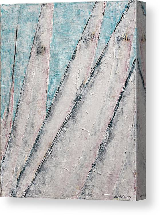 Abstract Sail Canvas Print featuring the painting Sunrise Fog Regatta by Ben Gertsberg