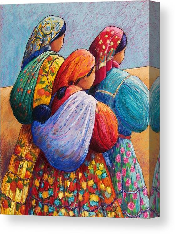 Mexico Canvas Print featuring the pastel Tarahumara Women by Candy Mayer