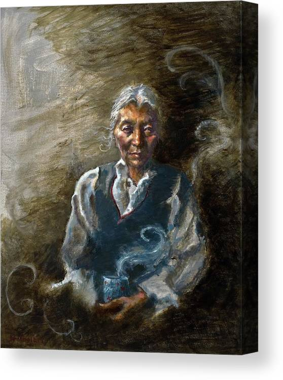 Woman Canvas Print featuring the painting Tea And Memories by Ellen Dreibelbis