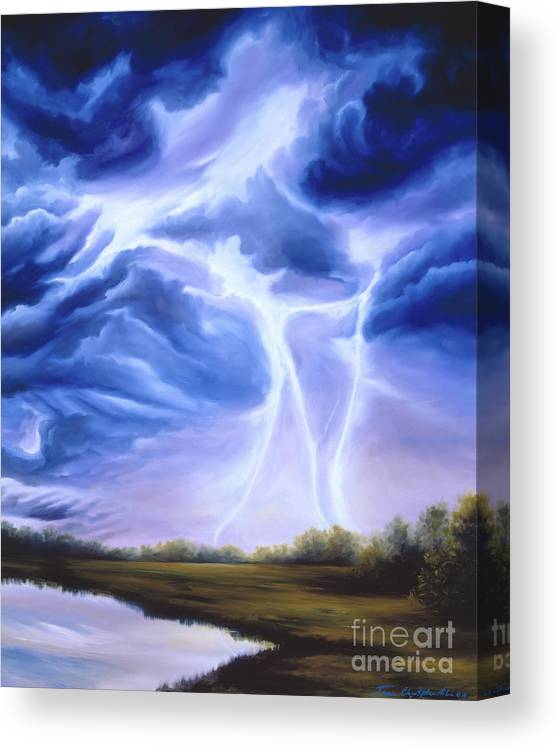 Marsh Canvas Print featuring the painting Tesla by James Christopher Hill