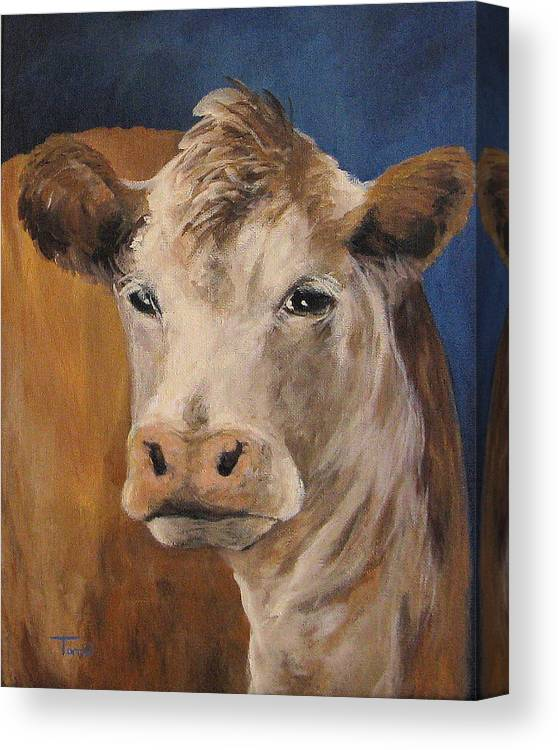 Cow Canvas Print featuring the painting The Cow by Torrie Smiley