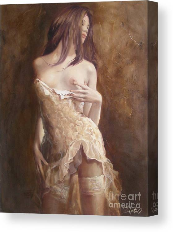 Art Canvas Print featuring the painting The Laces by Sergey Ignatenko