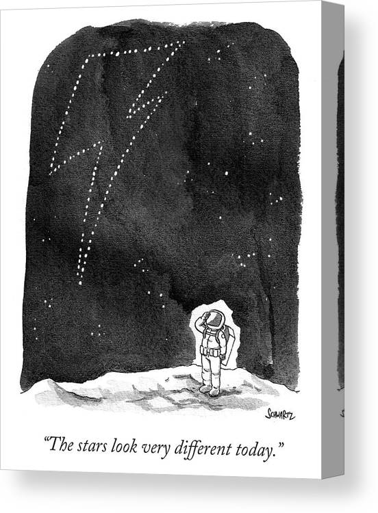 """the Stars Look Very Different Today."" Canvas Print featuring the drawing The Stars Look Very Different Today by Benjamin Schwartz"