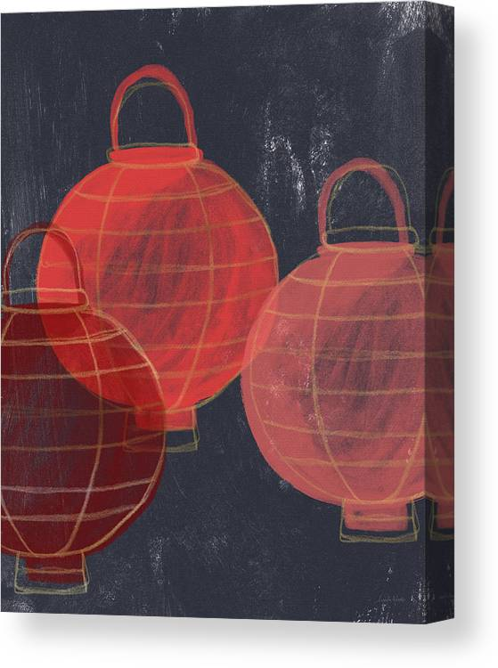 Lanterns Canvas Print featuring the painting Three Red Lanterns- Art By Linda Woods by Linda Woods