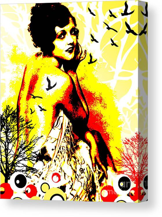 Nostalgic Seduction Canvas Print featuring the digital art Timeless Flight by Chris Andruskiewicz
